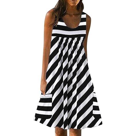 c45603763a127 PASHY Women's Stripe Tank Dress with Pockets A Line Swing Hemline  Sleeveless O-Neck Mini