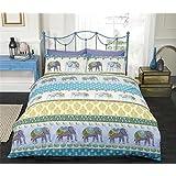 INDIAN ELEPHANT BLUE GOLD PURPLE CANADIAN QUEEN SIZE (230CM X 220CM - UK KING SIZE) COTTON BLEND COMFORTER COVER SET