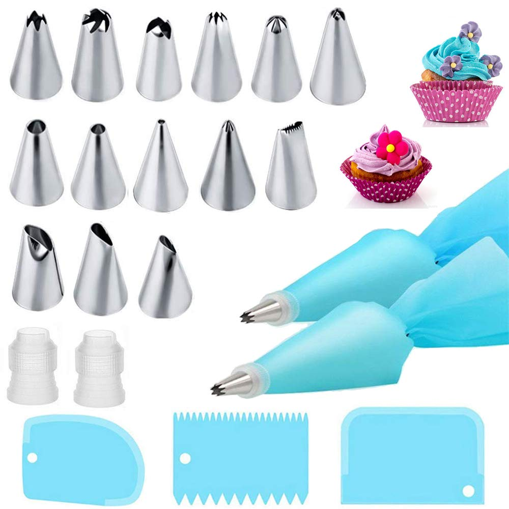 Piping Bags and Tips Cake Decorating Kits Supplies with 14 Stainless Steel Baking Supplies Icing Tips,2 Reusable Silicone Pastry Bags,3 Icing Smoother & 2 Couplers for Baking Decorating Cake,21Pcs