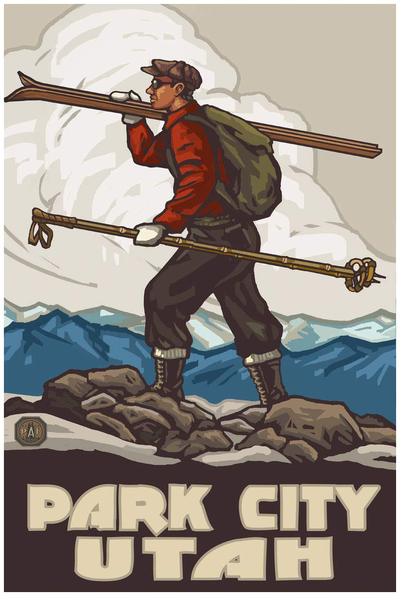 Park City Utah Skier Carrying Skis Travel Art Print Poster by Paul A. Lanquist (24'' x 36'') by Northwest Art Mall