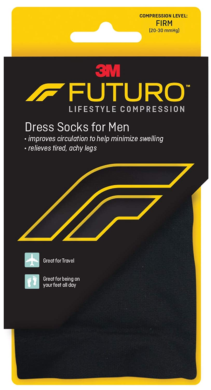 Futuro Restoring Dress Socks for Men, Black, Large, Firm (20-30 mm/Hg) by Futuro: Amazon.es: Salud y cuidado personal