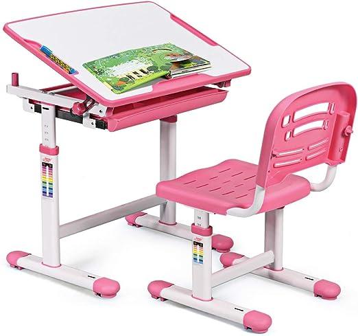 COSTWAY Escritorio para Niños con Silla Mesa de Lectura para ...