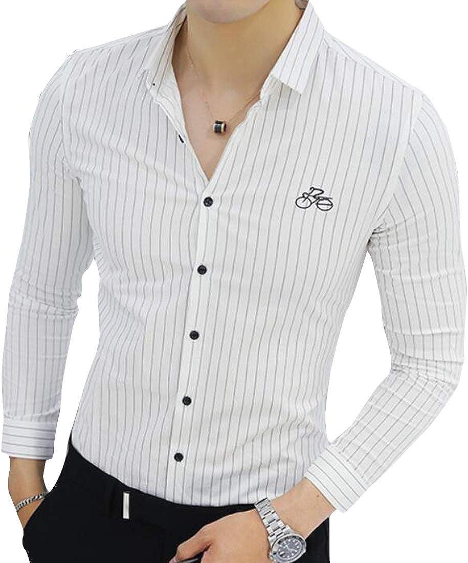 Domple Men Lapel Collar Business Slim Long Sleeve Stripe Button Down Dress Shirts
