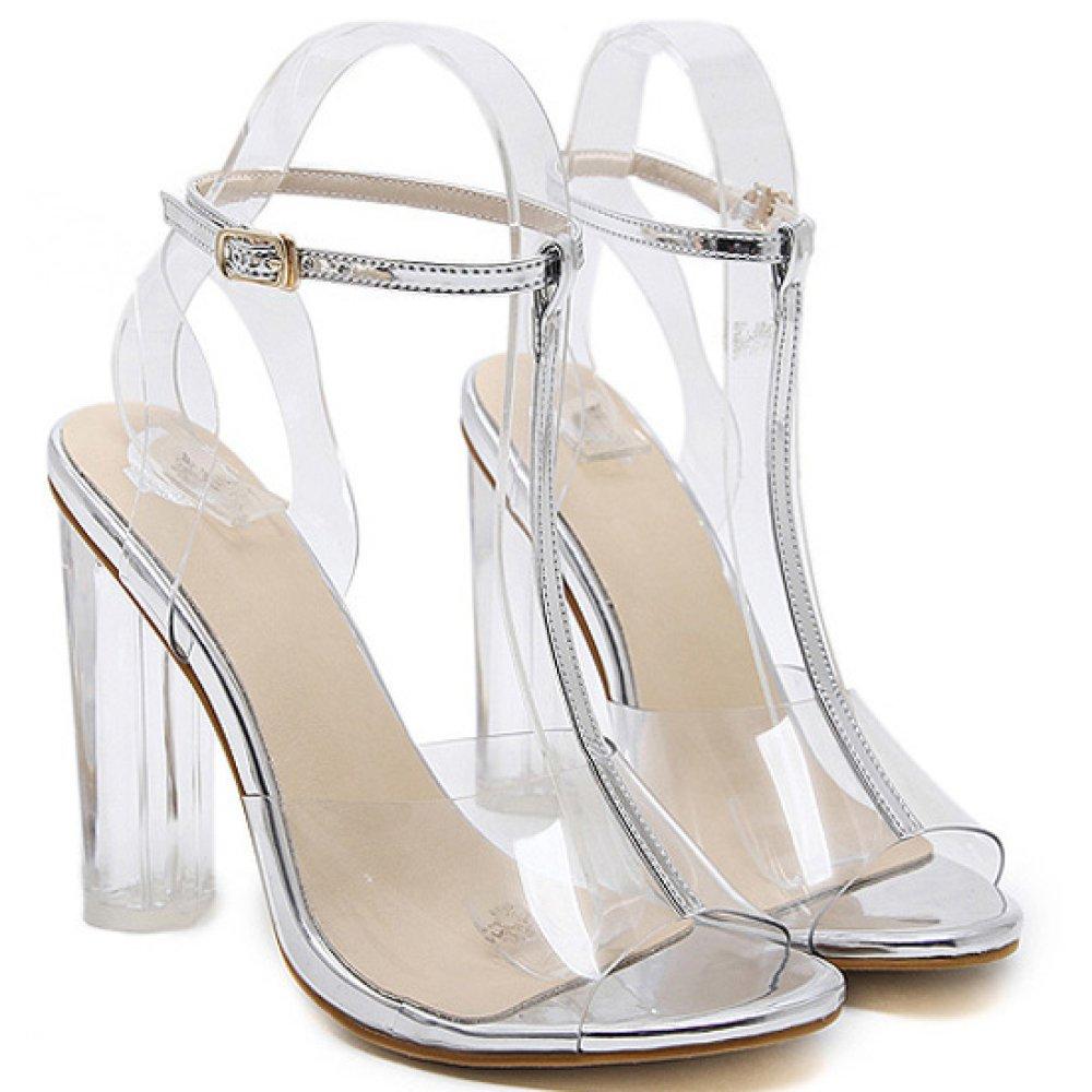 ZWME Mujeres Peep Toe T-Strap Transparente Heels Ladies Sandalias De Tacó n Alto Sandalias De La Correa Del Tobillo