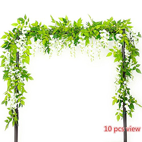 Felice Arts 2 Pcs Artificial Flowers 6.6ft Silk Wisteria Ivy Vine Green Leaf Hanging Vine Garland for Wedding Party Home Garden Wall Decoration, (Foliage Garland)