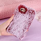 Cases for iPhone 7/iPhone 8, SevenPanda 3D Diamond Rhinestone Bling Crystal Shining Bow Transparent TPU Silicone Soft Warm Fluffy Rabbit Hair Furry Case Thin Shell for iPhone 7 4.7 inch - Wine Red