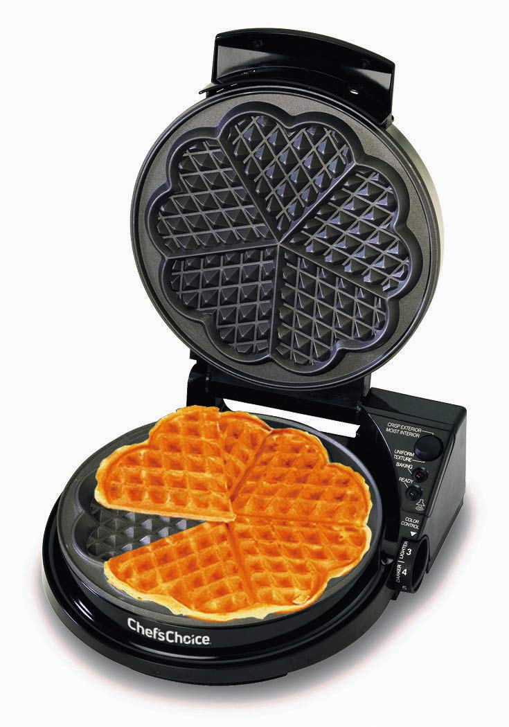 Chef'sChoice WafflePro 830 Traditional Five-of-Hearts Waffle Maker with Taste Texture Select Quad Baking Instant Temperature Recovery Fast Bake Easy to Clean with Overflow Channel, Waffle Iron, Black by Chef'sChoice (Image #1)
