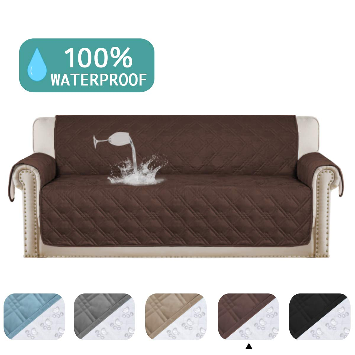 Stupendous 100 Waterproof Sofa Protector For Leather Sofa Cover Brown Non Slip Couch Covers For Dogs Pet Furniture Covers Machine Washable Protect From Pets Ocoug Best Dining Table And Chair Ideas Images Ocougorg