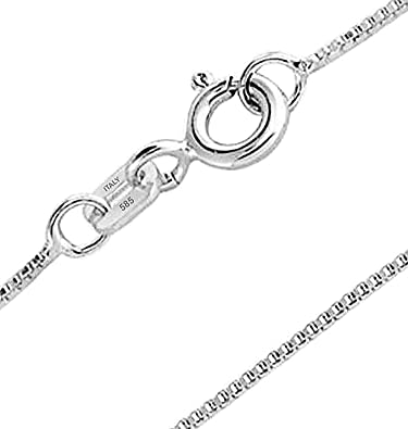 c8bb66e1a5d21 1mm Thin REAL 14K White Gold Box Chain Necklace For Women for Teen 10 Gauge  Made In Italy 14 16 18 20 24 Inch