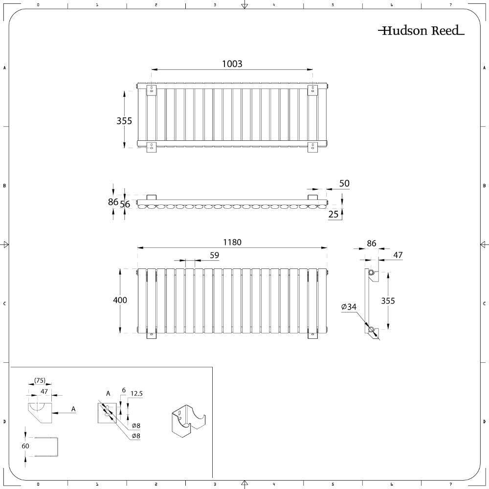 Hudson Reed Revive Design Heizk/örper Horizontal Doppellagig Wei/ß 400mm x 415mm 482W