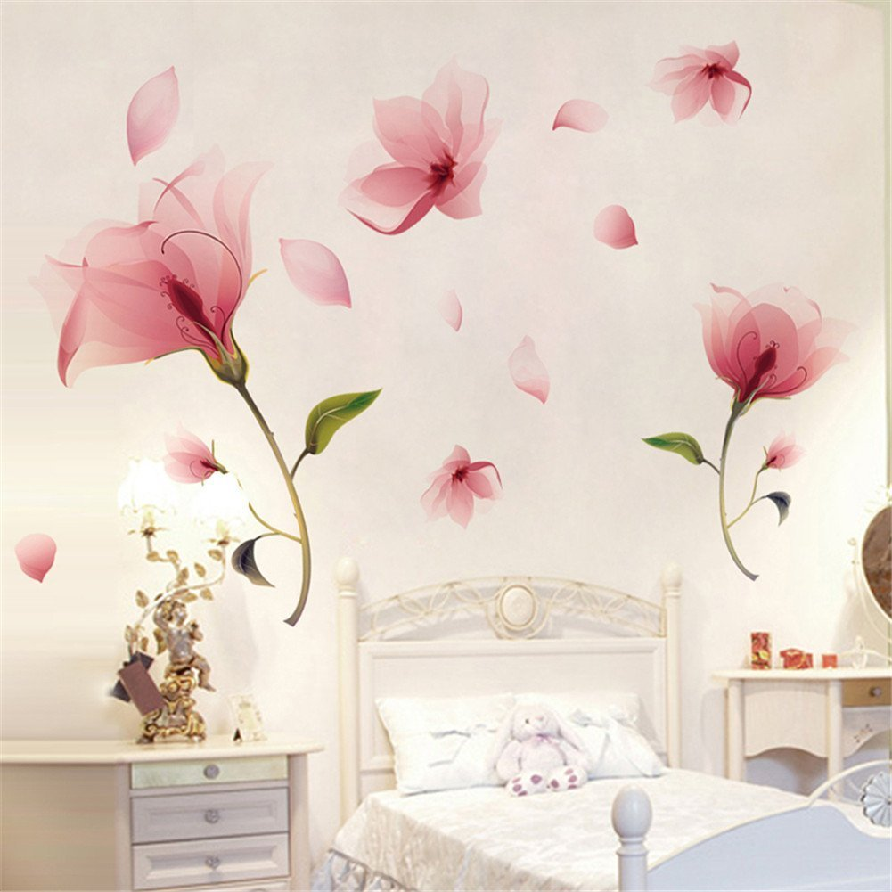 Nicedeal Romantic Pink Orchid Flower Petal Falling Wall sticker For Room Decoration Wall Sticker and deco