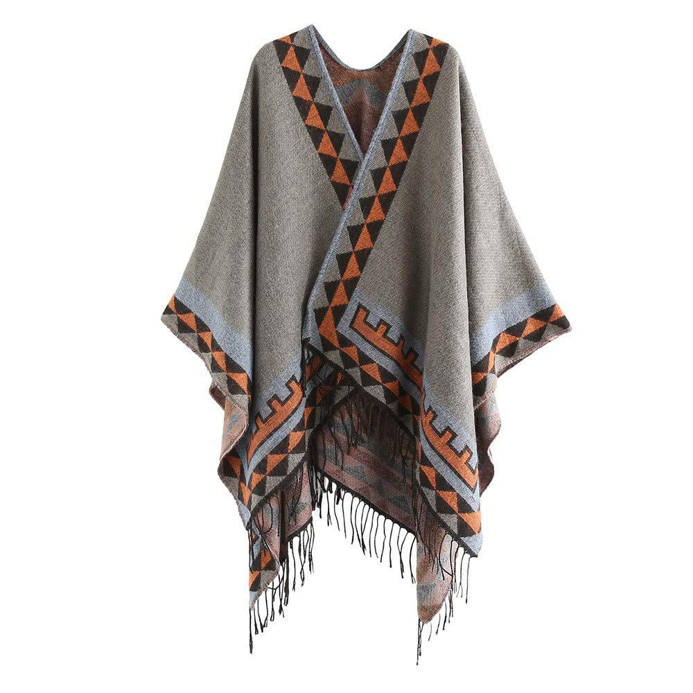 Women's Color Stitch Cashmere Shawl Wrap Poncho Cape Tassel Soft Neck Scarf