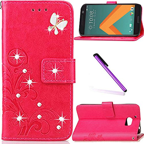 HTC 10 Case,HTC One M10 Case,HTC M10 Case,LEECOCO 3D Bling Crystal Diamonds Lucky Clover Floral with Card Slots Flip Stand PU Leather Wallet Case for HTC 10, Diamond Clover Rose