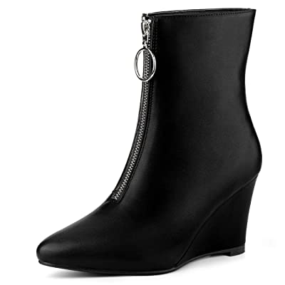 Allegra K Women's Front Zip Pointed Toe Low Wedge Ankle Boots | Ankle & Bootie