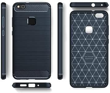 Huawei P10 Lite Brushed Carbon Fiber Pattern Shock Full Protection Drop Resistance Soft TPU + Carbon Fiber Back Cover Case - Navy