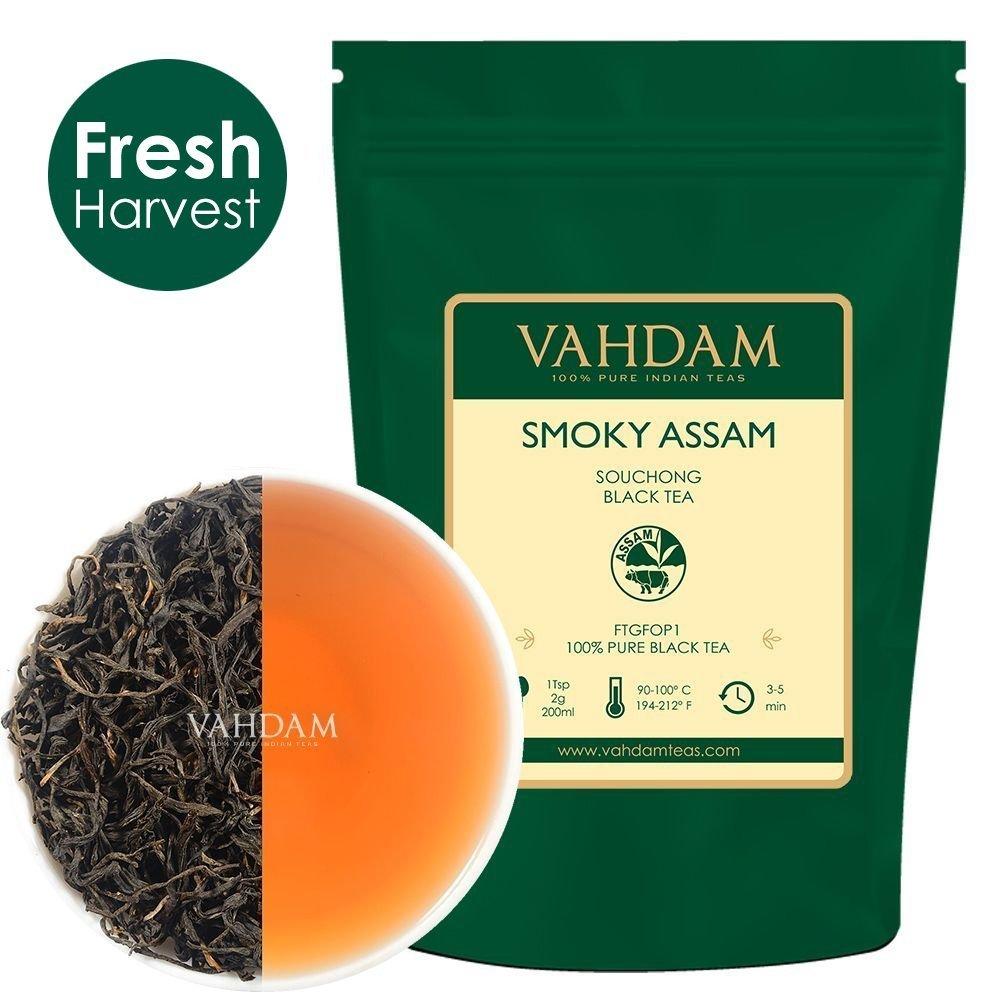 T� nero in foglie Smoky (50 tazze) - T� nero originale indiano - T� dall punte dorate, dall'aroma affumicato e sentori di malto, confezionato in India, 100g