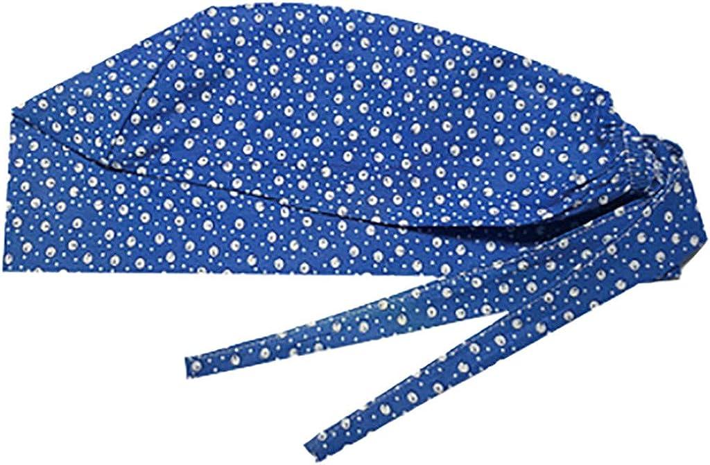 XBYEE Scrub Caps Surgical Women Men 4pc Hats Elastic Doctor Nurse Cap Fashion Flor Print Work Hat Casual Unisex