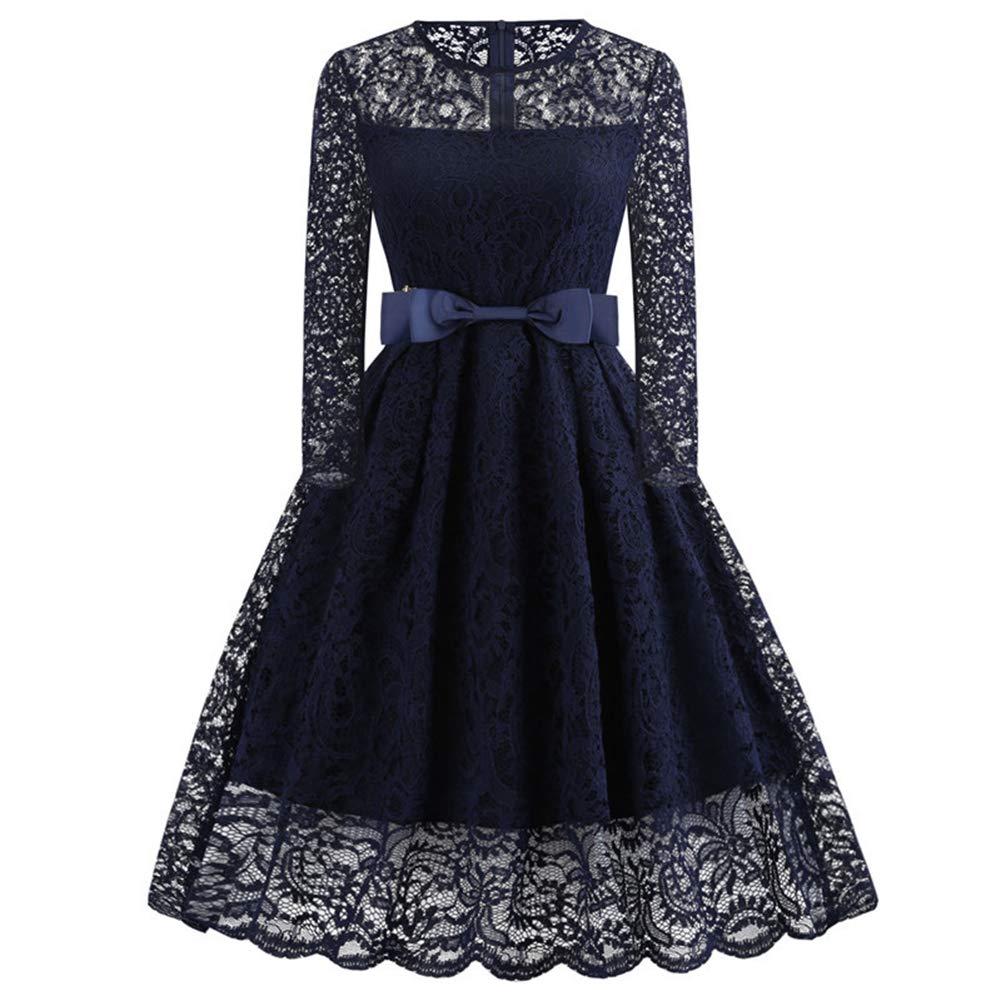 Slendima Vintage Long Sleeve Round Neck Zipper Lace Women Skater Dress Bowknot Belt Blue S
