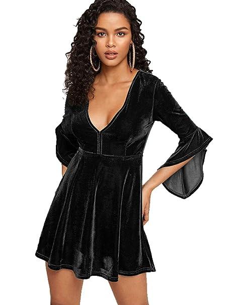8dad8deb33b9 ESPRLIA Women's High Waist Velvet Bell Sleeve Cocktail Swing Mini Dresses ( Black, ...