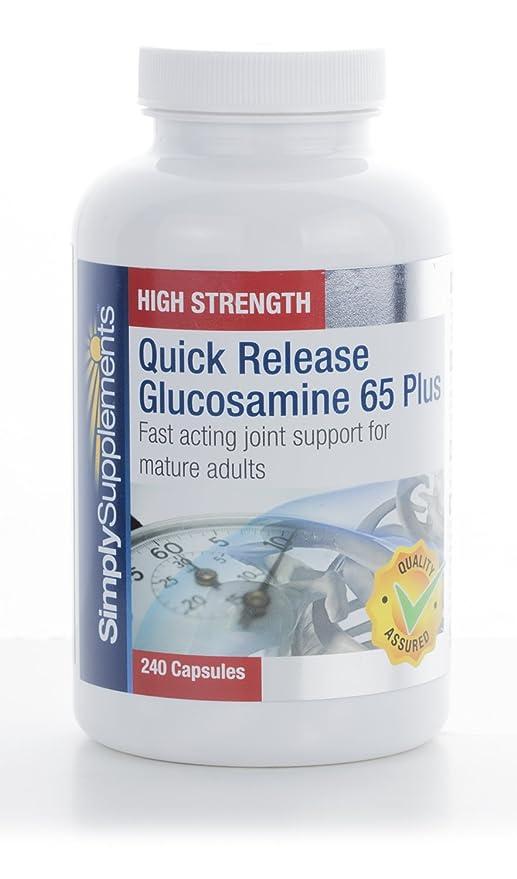 Glucosamina 65 plus - 240 cápsulas - Hasta 8 meses de suministro - Glucosamina de rápida liberación - SimplySupplements: Amazon.es: Salud y cuidado personal