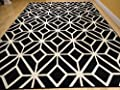 Persian-Rugs Moroccan Trellis Area Rug Carpet, 5 x 7-Feet, Black