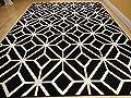 Persian-Rugs Moroccan Trellis Area Rug Carpet, 5 x 7-Feet, Black