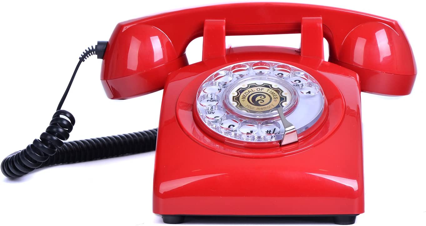 1960's Classic Style Rotary Dial Phone Retro Vintage Home Corded Telephone,Red
