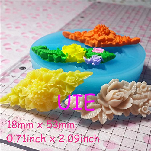 011LBH, 058LBH Vintage Flower Barrette Mold Silicone Mold Jewelry Cabochon Resin Fimo Polymer Clay Cake Decoration (Barrette Mold)