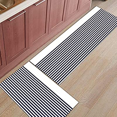 Kitchen Rugs Sets 2 Piece Kitchen Floor Mats Non-Slip Rubber Backing Area  rugs Blue and White Stripe Pattern Doormat Rubber Backing Washable Carpet  ...