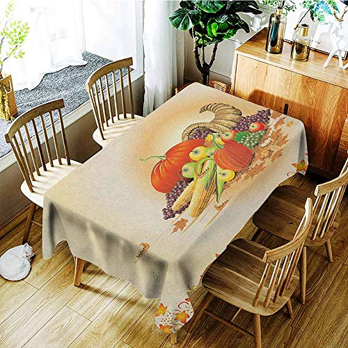 XXANS Elastic Tablecloth Rectangular,Harvest,Maple Tree Frame with Rustic Composition for Thanksgiving Halloween Dinner Food,Table Cover for Kitchen Dinning Tabletop Decoratio,W54x72L Multicolor ()