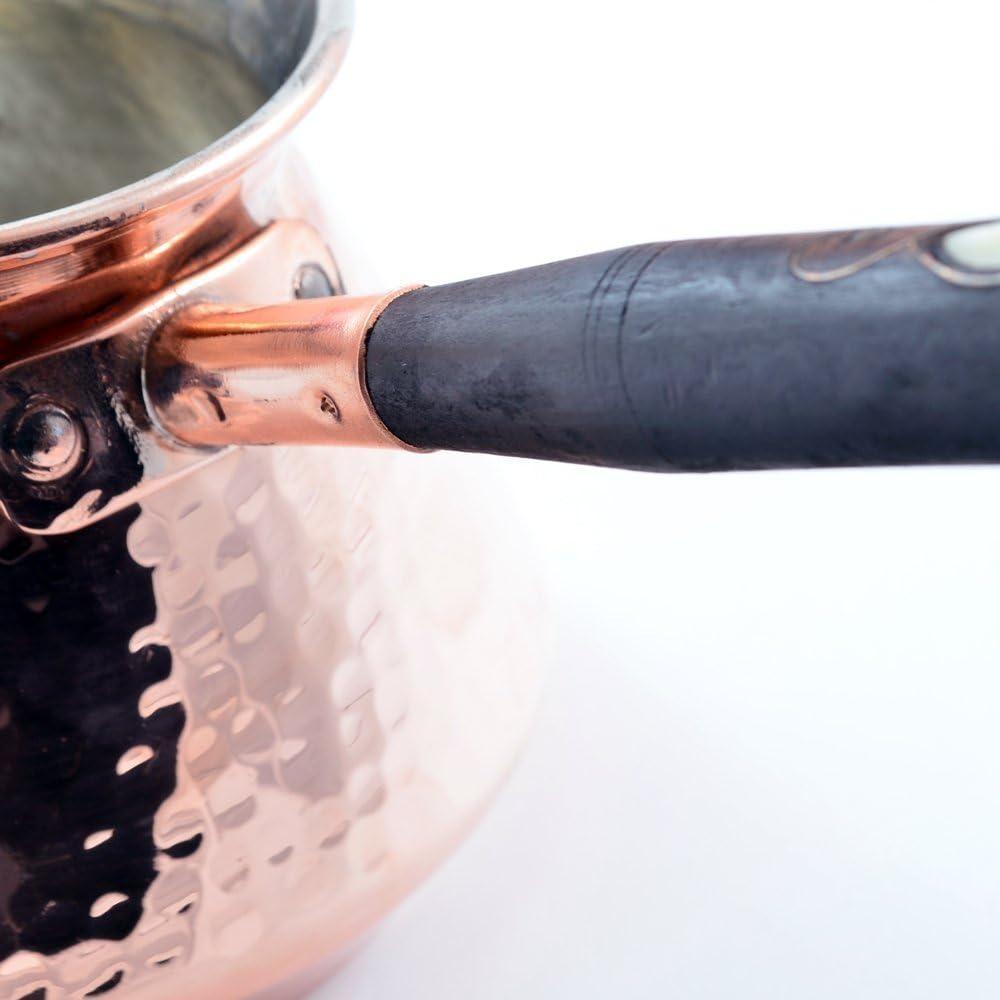 CopperBull New Thickest Solid rame martellato Turkish Greek Arabic Coffee pot Stovetop Coffee Maker cezve ibrik Briki con manico in legno spessore 2/mm Xlarge//–/425,2/gram