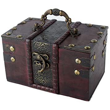 niceEshopTM Women Brown Vintage Wooden Jewelry Box Wood Trinket