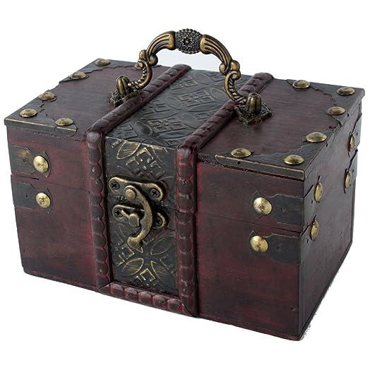 niceEshopTM Women Brown Vintage Wooden Jewelry Box Wood Trinket