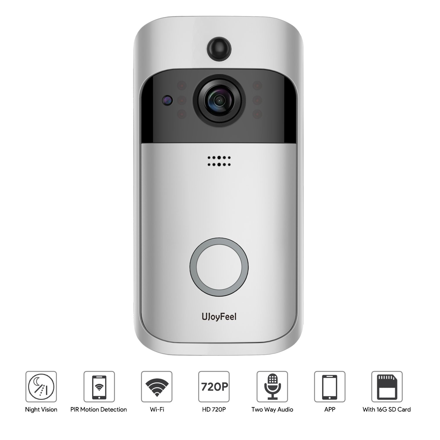Video Doorbell Smart Wireless Doorbell Camera 720P Wifi Security Camera with 16GB Storage 2 Rechargeable Battery Night Vision PIR Motion Detection