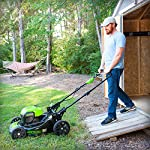 Greenworks g-max 40v 20-inch cordless 3-in-1 lawn mower with smart cut technology, (1) 4ah battery and charger included mo40l410 34 includes (1) max capacity 4 ah - 40v lithium battery , cutting heights - 5 position durable 20'' steel deck lets you mulch, bag, or side discharge allowing you to maintain your yard the way you want it. This lawn mower is not self-propelled innovative smart cut technology automatically increases the speed of the blade when more power is needed
