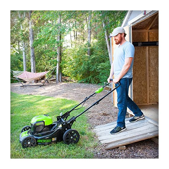 Greenworks g-max 40v 20-inch cordless 3-in-1 lawn mower with smart cut technology, (1) 4ah battery and charger included mo40l410 17 includes (1) max capacity 4 ah - 40v lithium battery , cutting heights - 5 position durable 20'' steel deck lets you mulch, bag, or side discharge allowing you to maintain your yard the way you want it. This lawn mower is not self-propelled innovative smart cut technology automatically increases the speed of the blade when more power is needed
