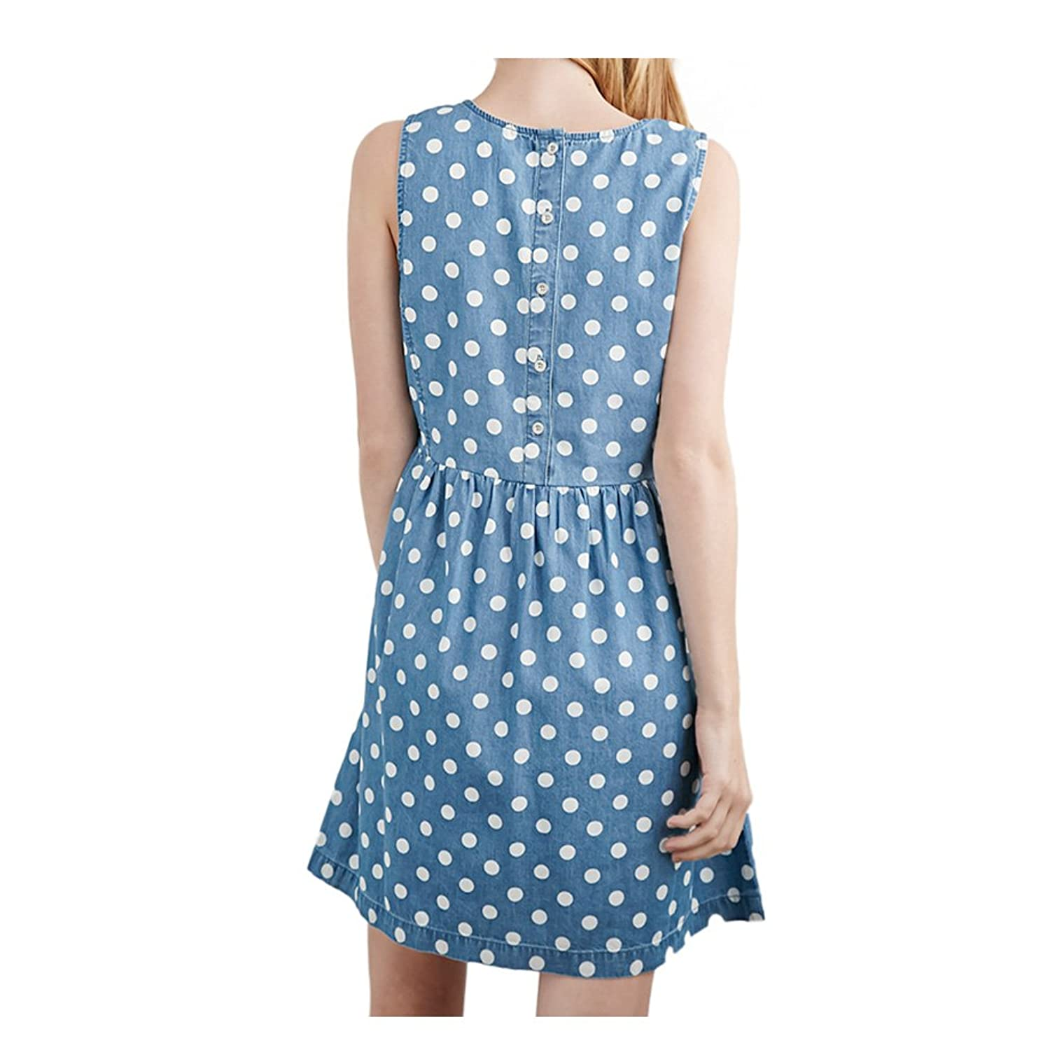 2015 Summer Denim Polka Dot Casual Dress for Women