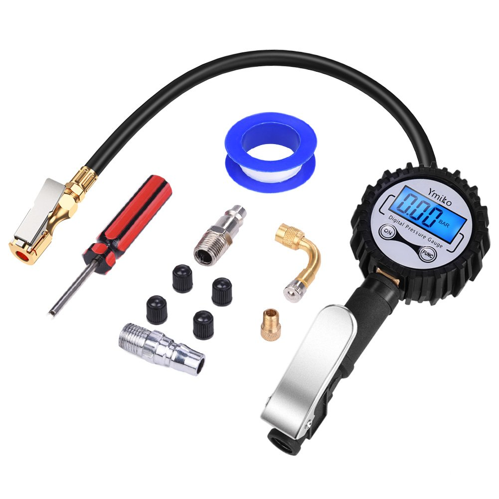 Ymiko Tire Pressure Gauge, 3 in 1 Digital Tire Inflator with Air Pressure Gauge and Pressure Release with Digital Display, Flexible Air Hose, Brass Air Chuck, Quick Connect Coupler for all Vehicles