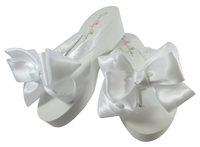 026eae1130c20f Amazon.com  2 inch white wedge flip fops with Satin Wedding Bows for the  Bride  Handmade