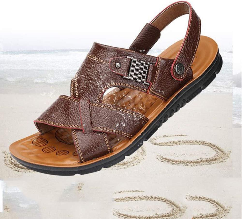 Zomer Sandalen Heren Lederen Mannen Casual Strand Mannen Slippers Met Metalen Decoratie Grote Maat Schoenen Zwart