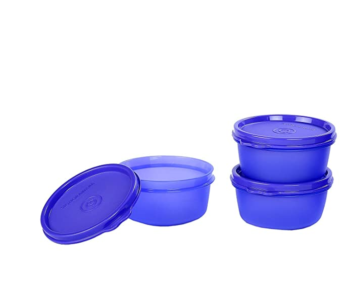 Signoraware Tiny Wonder Plastic Container Set, 200ml, Set of 3, Violet Jars & Containers at amazon