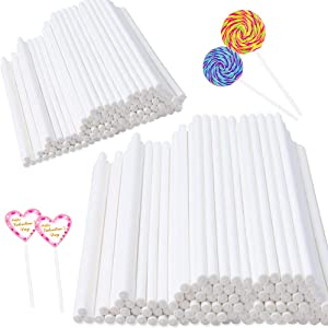 400 pcs 6 Inch White Lollipop Sticks,Cake Pop Sticks,Paper Treat Sticks Sucker Stick for Cake Toppers,Cake pops,Candy,Chocolate,Cookie(3.5mm Dia)