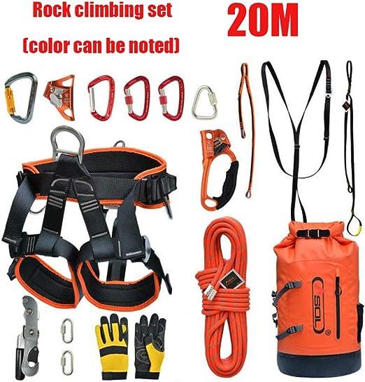WYX Kit de Escalada de 20 m, arnés de Medio Cuerpo para Exteriores ...