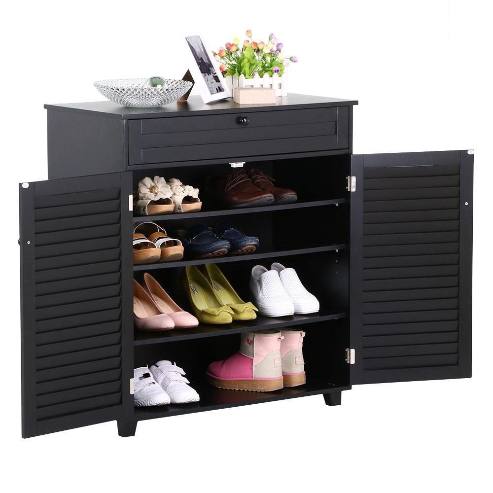 Amazon.com: Yaheetech 3 Shelves Shoe Cabinet Office Storage Cabinet With 1  Drawer 2 Doors Black: Kitchen U0026 Dining