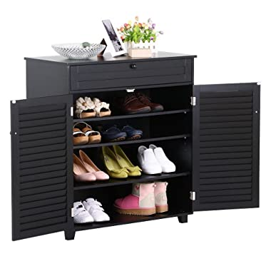 Yaheetech Shoe Cabinet Office Storage Cabinet with 1 Drawer 4 Adjustable Tier Shoe Rack Pinter Stand for Home Office Black