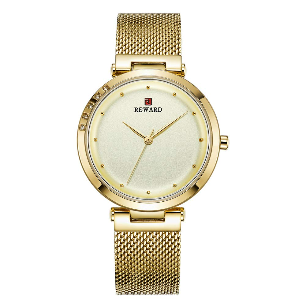 Women's Watch, Waterproof Watch Girls Simple Watch with Rhinestone, Ultra-Thin Stainless Steel Band,Gold