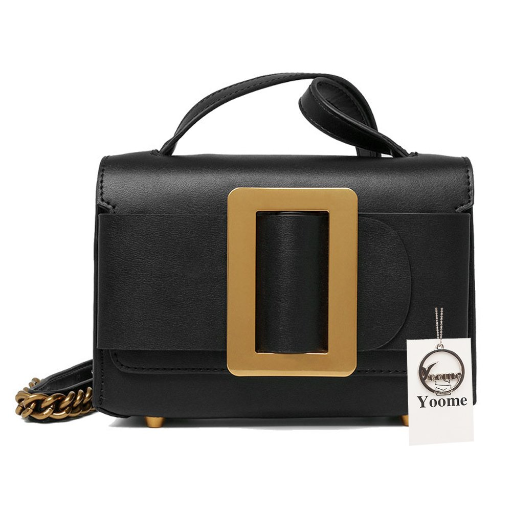 Yoome Womens Cowhide Leather Evening Handbags Small Clutch Bags Vintage Crossbody Purse for Ladies - Black