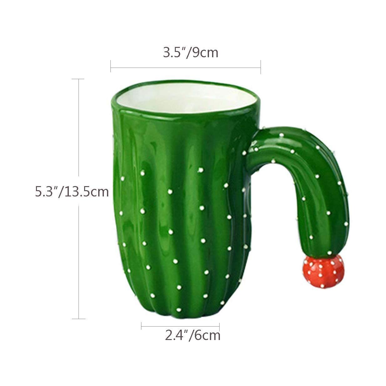 Novelty Coffee Mugs,Individual Cactus Ceramic Mug for Hot Water Tea Beer Purely Handmade Fine Bone china Cups Creative Halloween Gift Idea 14 OZ