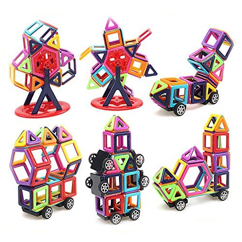 LUXJET 95PCS Magnetic Building Block Set,ABS Plastic,Creative and Educational Gift for Kids