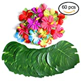 """60 Pcs Tropical Party Decoration Supplies 8"""" Tropical Palm Leaves and Hibiscus Flowers, Simulation Leaf for Hawaiian Luau Party Jungle Beach Theme Table Decorations"""